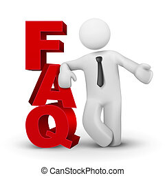 3d business man presenting word FAQ isolated white...