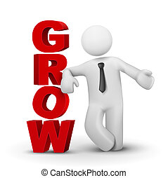 3d business man presenting word grow concept isolated white...