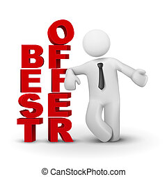 3d business man presenting concept of best offer isolated...