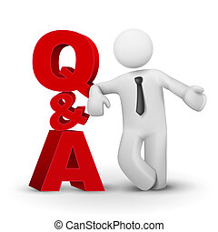 3d businessman presenting concept word Q&A isolated white...