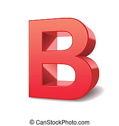 3d letter B - 3d red letter B isolated white background