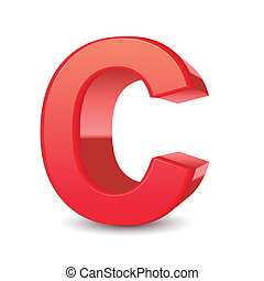 3d letter C - 3d red letter C isolated white background