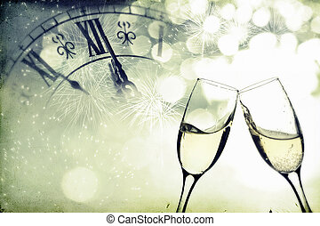 Glasses with champagne over holiday background - Vintage...