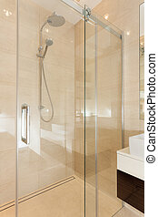 Glass contemporary shower in bathroom