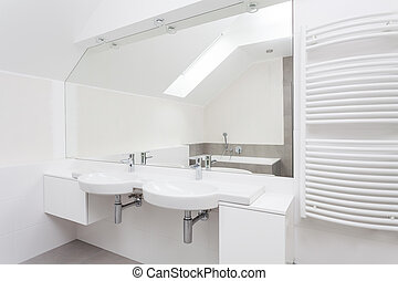 White modern bathroom interior with double sink