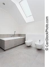 interior, gris, blanco, cuarto de baño