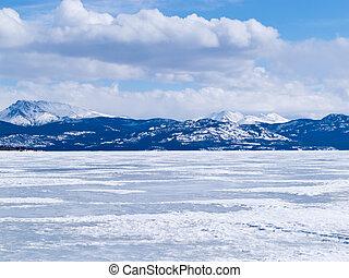 congelado, lago, Laberge, invierno, paisaje, Yukon,...