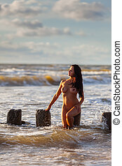 naked woman on the beach - Beautiful young naked woman on...