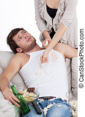 Lazy guy doesn't want to help his wife