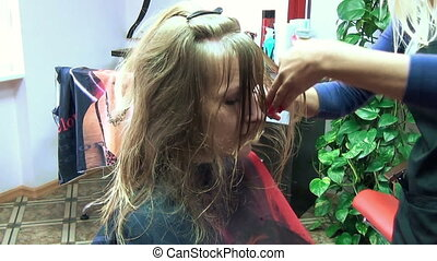 scissors hair strands - hairdresser carefully cuts the ends...