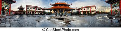 Chinese Temple, Sarawak Borneo - Panoramic image of Chinese...