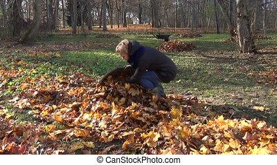 girl gardener autumn work - gardener girl put autumn rake...