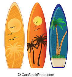 surf - three colored surfboards with different styles and...