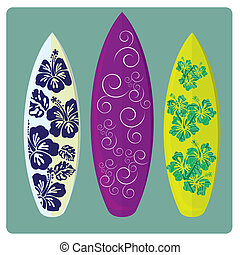 surf - three different surfboards with different colors and...