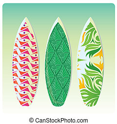 surf - three different surfboards with textures and colors