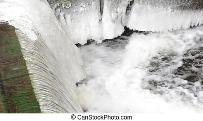 Beautiful Waterfall, Frozen River Flow with Icicles