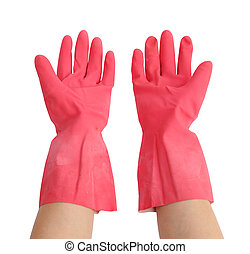 gloves for cleaning with hand on white background (with...