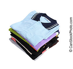 pile of clothes on white background (with clipping path)