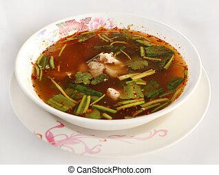 Spicy pork spare rib soup
