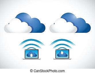 laptop upload and download concept illustration