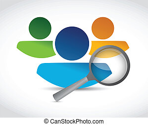 human resources and magnify glass illustration design over a...
