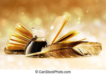 viejo, libro, pluma
