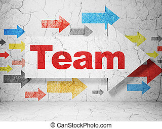 Finance concept: arrow with Team on grunge wall background -...