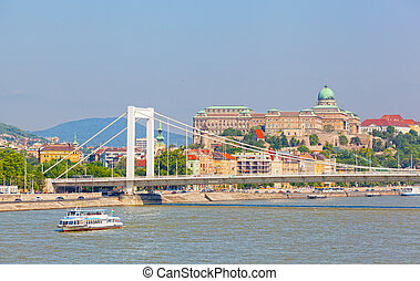 View of the white bridge and Danube in Budapest