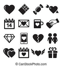 Valentine day love icons set.  Vector illustration.