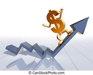 Surfs Up - Illustration of a dollar symbol surfing an upward...