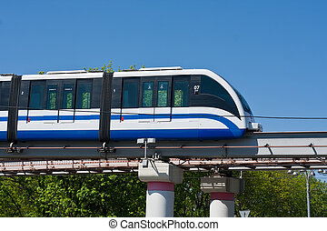 Monorail train - Modern monorail fast train on railway,...