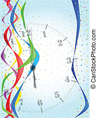 Midnight - A clock showing midnight with streamers and...
