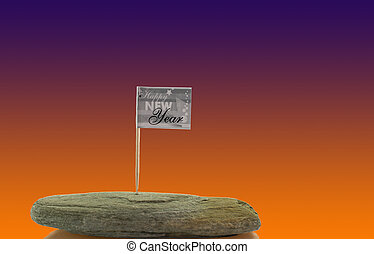 happy new year flag on solid rock isolated on white
