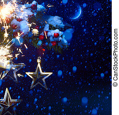 Christmas night - background with tree branch and stars in the snow