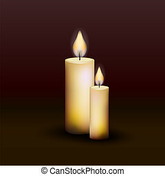 Two burning candles on a dark background