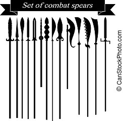 Set of silhouettes combat copies