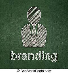 Marketing concept: Business Man and Branding on chalkboard...