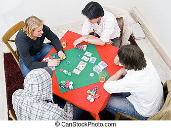 Table for four - Four people sitting around a square poker...
