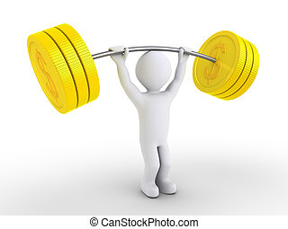 Person is weight lifting dollar coins - 3d person is lifting...