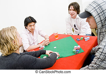Casual poker - Four people sitting around a square poker...