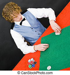 The Dealer - A dealer at a poker table in a casino preparing...