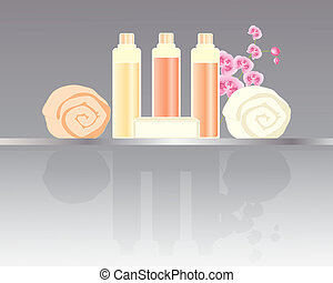 hotel toiletries - an illustration of a set of hotel...
