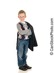 Eight year young boy casual dressed, happy expression on...