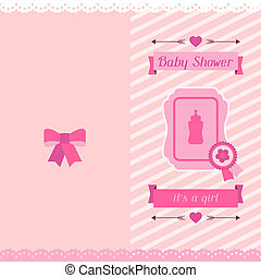 Girl baby shower invitation card.