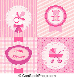 Girl baby shower invitation cards.