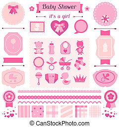 Girl baby shower set of elements for design.