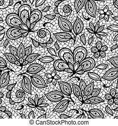 Old lace seamless pattern, ornamental flowers Vector texture...