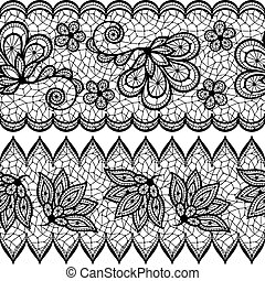Old lace seamless pattern, ornamental border Vector texture...