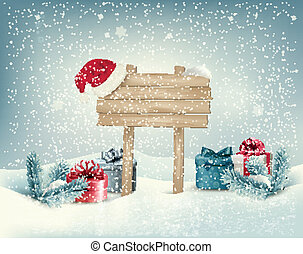Christmas winter background with presents and wooden board...
