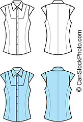 Blouse - Vector illustration of women's blouse. Front and...